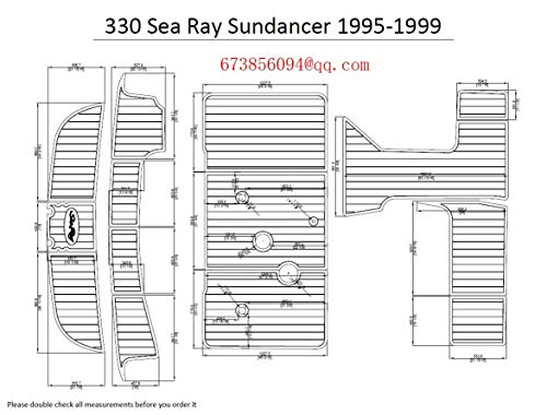 ZY 1995-1999 Sea Ray Sundancer 330 Boat Swim Platform & Cockpit EVA Teak Decking Pad (Medium Grey)