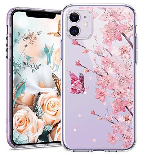 Funda biteri compatible con iPhone 12 Max 6,1 pulgadas, transparente, purpurina, diseño de flores, suave, ultrafina, diseño transparente