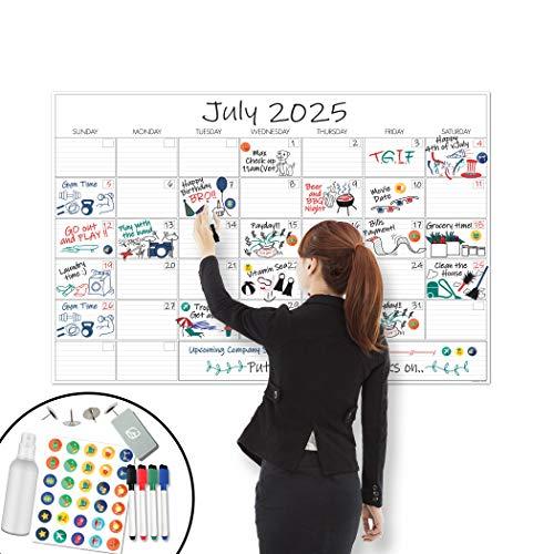 X Large Dry Erase Wall Calendar - 24'x 36' Premium Giant Oversized Undated Erasable Deadline Task...