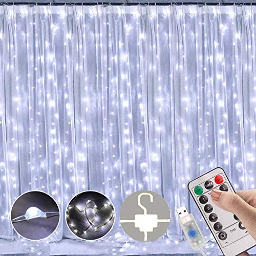 LED Curtain Lights, Window Curtain Fairy Twinkle Lights 3mx3m 300leds USB Operated 8 Modes Icicle LED String Lights with Remote & Timer for Indoor Xmas Party Home Garden Decoration(Cool White)