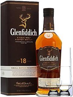 Glenfiddich 18 Jahre neue Ausstattung Single Malt Whisky 0,7 Liter  2 Glencairn Gläser und Einwegpipette