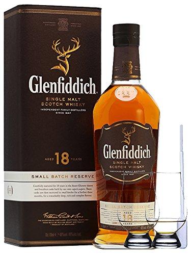 Glenfiddich 18 Jahre neue Ausstattung Single Malt Whisky 0,7 Liter + 2 Glencairn Gläser und Einwegpipette