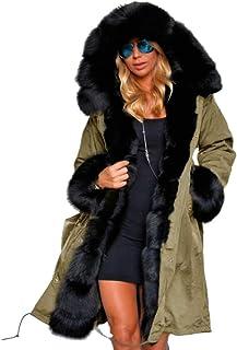 جاكيت جاكيت بقبعة طويل الأكمام من BlackThings معاطف شتوية دافئة للنساء مقاس كبير (أخضر عسكري، XL)