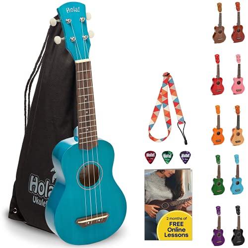 Hola! Music HM-21BU Soprano Ukulele Bundle with Canvas Tote Bag, Strap and Picks,...