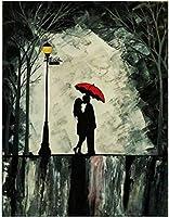 ZZFJF パズルパズル1000ピース大人のカップルが雨の中で傘を持っている大人のためのパズルパズルアートロジックブレインティーザーベビーギフト50x75cm