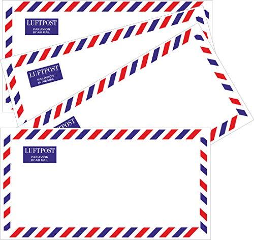 50 Luftpostumschläge - Umschlag DIN lang ohne Fenster - selbstklebend - Luftpost - Briefe - Ausland - Post versenden