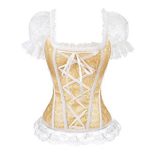 Zooma Mujeres Sexy Lace Corsé Underbust Slimming Vintage Bustier Corset Negro - Corsé - para Mujer