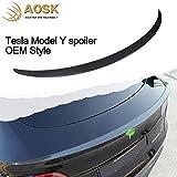AOSK Tesla Model Y Spoiler OEM Style Wings ABS Carbon Fiber Pattern for 2020-2021 Tesla Model Y Rear Trunk Spoiler Lip Tail Wing Rear Trunk Lid