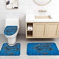 ZGDPBYF 浴室用アップホームバスマットチャイニーズスタイルブラックドラゴンブループリントバスマットシャワーフロア用カーペットバスタブマット