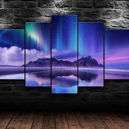 KOPASD 5 Piezas Decor Salon Murales Aurora Island Nature Pasillo Decor Arte Pared Enmarcado HD Impresión Regalo (Enmarcado Tamaño 200x100cm)
