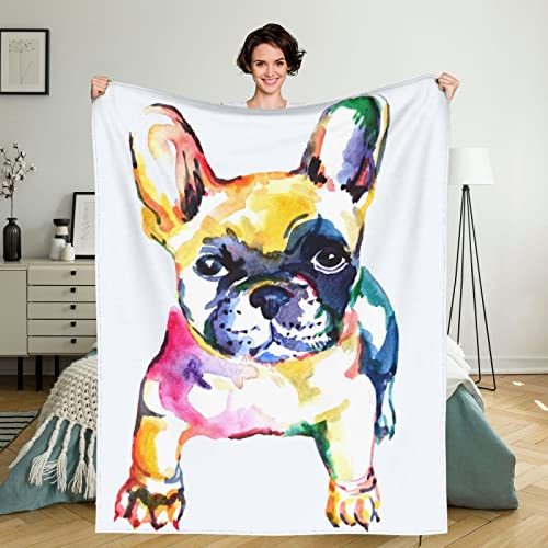 Frenchie French Bulldog Original Watercolor White Dog 50x40 inch Throw Blanket Super Soft Fuzzy Cozy Warm Fluffy Plush Blanket for Bed Couch Chair Living Room Fall Winter Spring