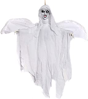 Hophen Halloween Hanging Animated Scary Flying Ghost Vampire Decoration Props Horror Outdoor Indoor Party Decor (White)
