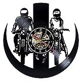 wtnhz LED Reloj de Pared de Vinilo Colorido Reloj de Pared con Disco de Vinilo de Motocross, Reloj de Pared Decorativo 3D de Carreras de Motos de diseño Moderno, Reloj de Pared de Vinilo, decoraci