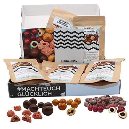 Leckerein Geschenkbox I Nascherein Box I Schokofrüchte etc im Präsentkorb I 5x50g Leckere Snacks zum verschenken