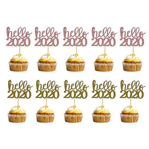 Amosfun 10pcs Hello 2020 Happy New Year Cake Toppers Cupcake Toppers 2020 New Year Eve Party Decorations Supplies (Golden Rose Gold)