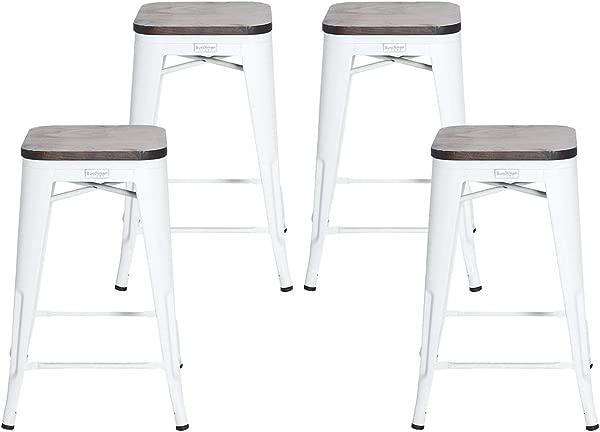 Buschman Set Of 4 Matte White Wooden Seat 26 Inch Counter Height Metal Bar Stools Indoor Outdoor Stackable