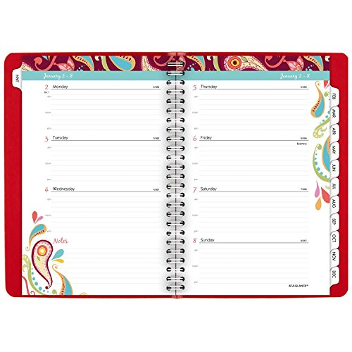 """AT-A-GLANCE Weekly / Monthly Appointment Book / Planner 2017, 5-1/2 x 8-1/2"""", Premium, Playful Paisley (952P-200) Photo #9"""