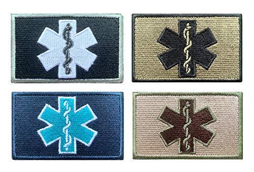 Antrix 4 Pieces EMT Star of Life Medical Medic Cross Military Patch Hook & Loop Tactical Emblem Badge Patches - 3.15x2