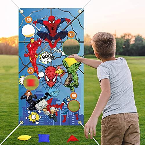 Jeu de Lancer de Sacs de Sable,Jeu de Carnaval Amusant - Jeu de Lancement idéal pour Une fête de Carnaval, Fournitures de Fête de Superhero Spiderman, à l'intérieur et à l'extérieur