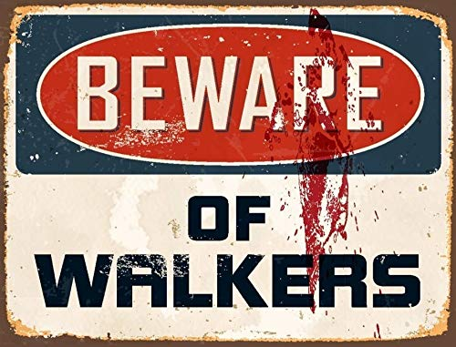 Lewistons-Of-London Beware Walkers Walking Dead inspired Zombies Halloween Vintage Retro Man Cave Bar Pub Shed Tin Wall Décor Metal Sign