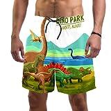Abenily Bañador para hombre Jurassic Dino Park Dinosaurs Board Shorts con 2 bolsillos para surf, playa, forro de malla transpirable, secado rápido