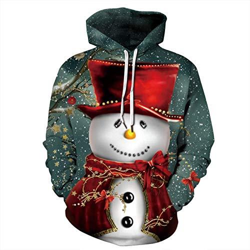 Mr.BaoLong&Miss.GO Otoño E Invierno Nuevo árbol De Navidad Impresión Digital Perezosa De Manga Larga Suéter Suelto Suéter Hombres Y Mujeres Mismo Estilo Sudadera con Capucha