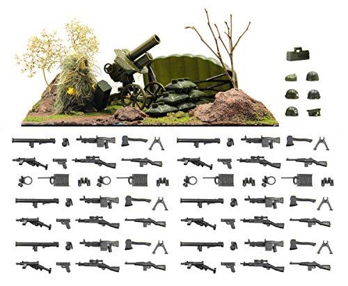 MAGMA BRICK Waffenpaket, Kriegsausrüstung kompatibel mit Lego Figuren einschließlich Wald Diorama Set
