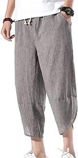 MU2M Mens Cotton Linen Loose Fit Lightweight Solid Big & Tall Capri Pants