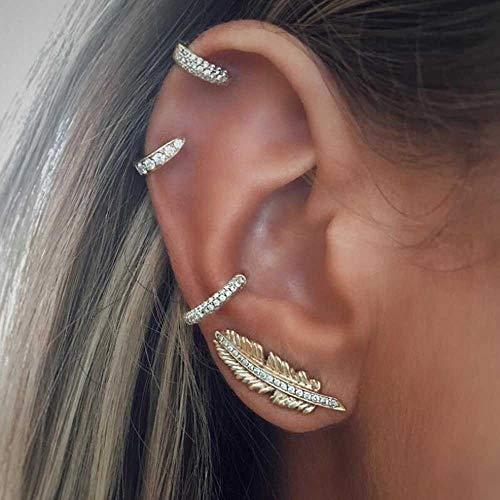 Jovono, Set di orecchini alla moda con diamanti sintetici a forma di foglia, per donne e ragazze