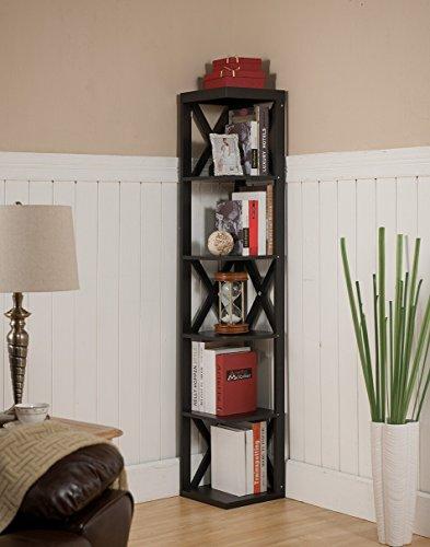 Kings Brand Furniture - Corner Unit 5 Tier Bookshelf/Bookcase Display Stand, Espresso
