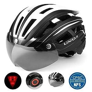 Lixada Adult Bike Helmet with Detachable Magnetic Goggles Visor and LED Back Light,Adjustable Size UV Protective Mountain & Road Bicycle Cycling Helmets