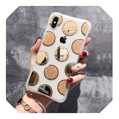 Carcasa de espejo galvanizado, diseño de corazón para iPhone 11 Pro XR XS Max X 6 6s 7 8 Plus con purpurina suave punto de onda puntos de la cubierta de la funda