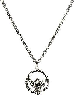 Necklaces بساطة التيتانيوم الصلب سلسلة قلادة، شخصية قلادة زوجين بسيطة، قلادة سبيكة قلادة ملاك دائرة Necklace for Women (Si...