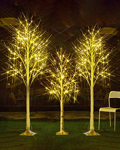 MOOSENG 4 Feet 5 Feet 6 Feet Birch Tree, Christmas Decoration Clearance Tree Sets 3 Pieces, LED Lighted X'Mas Tree for Home | Festival Party |Indoor and Outdoor Use, Warm White