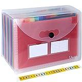 Uquelic Arco Iris Carpetas Clasificadora de Acordeón 24 Bolsillos Acordeon Documentos de Gran Capacidad Soporte Extensible Portátil MultiColor Ampliable Carpetas Clasificadores a4