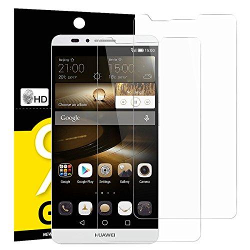 NEW'C 2 Stück, Schutzfolie Panzerglas für Huawei Ascend Mate 7, Frei von Kratzern, 9H Festigkeit, HD Bildschirmschutzfolie, 0.33mm Ultra-klar, Ultrawiderstandsfähig