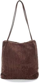 Ulisty Damen Klein Cord Schultertasche Mode Eimer Tasche Einkaufstasche Handtasche Kaffee