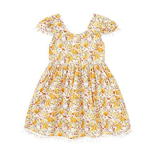 YOUNGER TREE Infant Toddler Baby Girl Summer Floral Dress Sleeveless Tassel Princess Sundress Girl Casual Flower Dresses (Yellow, 5-6T)