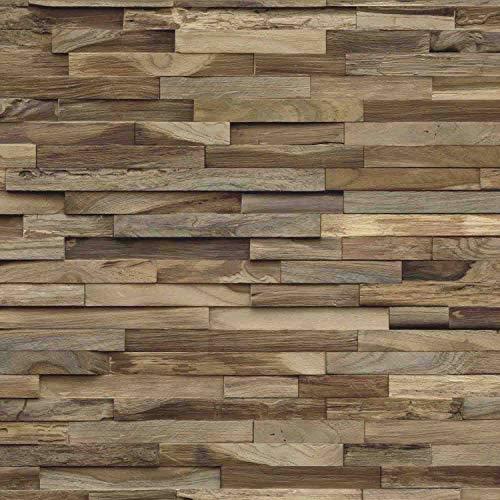 Holz Wandverkleidung mit 3d Paneelen aus verwittertem, recyceltem Holz von Nordje® (Elvar | Teak)