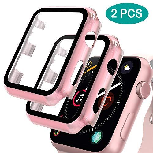 GeeRic 2PCS Pellicola Vetro Temperato Compatibile per Apple Watch 38mm Serie 3/2/1 HD Cover Resistente Urti Pellicola Copertura Completa Custodia Compatibile per Apple Watch 38mm Serie 3/2/1 Oro Rosa