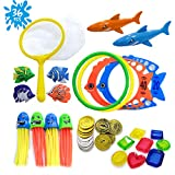 HonShoop 36pcs Diving Pool Toys for Kids, Underwater Swim Toys Set with Dip Net and Storage Net Bag, Dive Rings, Pirate Treasure and Coins Collection for Toddler Boys/Girls Swimming Pool Game