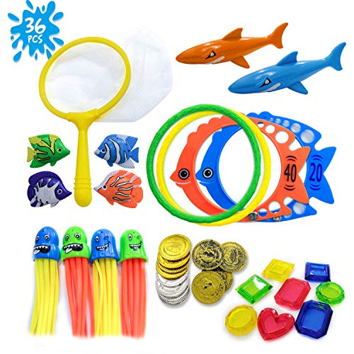 HonShoop 36pcs Diving Pool Toys for Kids, Underwater Swim Toys Set with Dip Net and Storage Net Bag,...