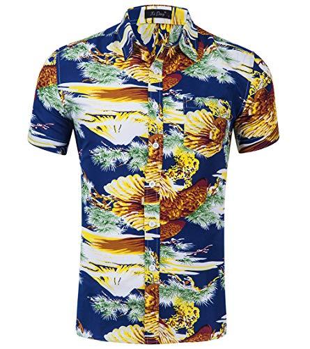 Camicia Hawaiana da Uomo Casual Fashion Classic Digital Flamingo Floral 3D Stampa Manica Corta T-Shirt Semplice Joker,H,S