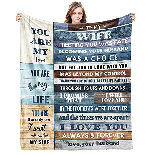 Gift to My Wife Blanket from Husband You are My Love Wedding for Wife Best Birthday Gift for Wife Her Women Healing Thoughts Throws Blanket 60x50 inch