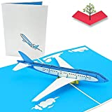 PopLife Jet Airplane Pop Up Card for All Occasions - Happy Birthday, Graduation, Congratulations, Retirement, Work Anniversary, Fathers Day - Pilots, Plane Travelers - Folds Flat for Mailing