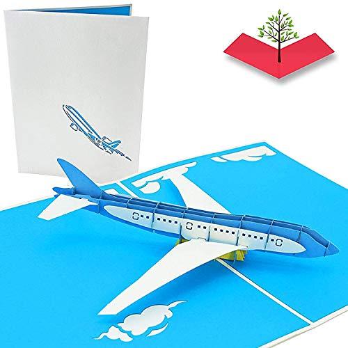 PopLife Cards Tarjeta emergente del día del padre del avión del jet para todas las ocasiones el día del padre, feliz cumpleaños, graduación, retiro, aniversario del trabajo, los pilotos
