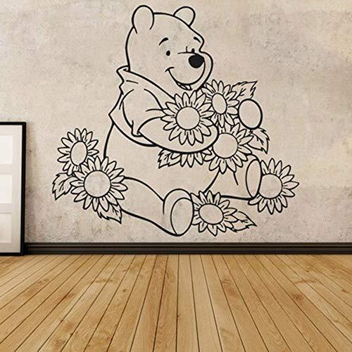 Calcomanías de pared anime oso y flor personalidad dibujos animados vinilo pegatinas de pared niños habitación de bebé jardín de infantes decoración del dormitorio