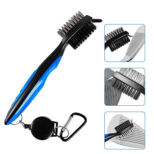 Golf Club Brush and Groove Cleaner Brush,Dual Sided Nylon & Steel Brush with Spike and Retractable Zip-line Aluminum Carabiner for Golf Club,Golf Shoes,Golf Groove