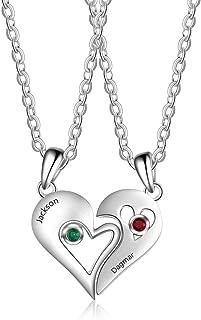 Collar con Nombre Cadena de Nacimiento Personalizada con Nombre 2 Parejas enamoradas Aniversario Aniversario Collar con 2 Piedras Preciosas Collar de Compromiso en Plata Joyas para Mujer