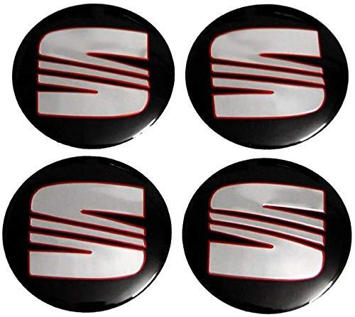 4 PCS Auto Center Hub Caps Cupra compatible con Arona Ibiza Alhambra Toledo Leon FR Alte Acordoba con emblema, Wheel Center Logo Badge Stickers Accesorios de decoración de modelado de neumáticos